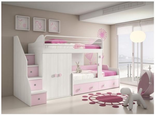 Cama tipo litera para ni a pink blue em 2019 cama - Dormitorios infantiles blancos ...