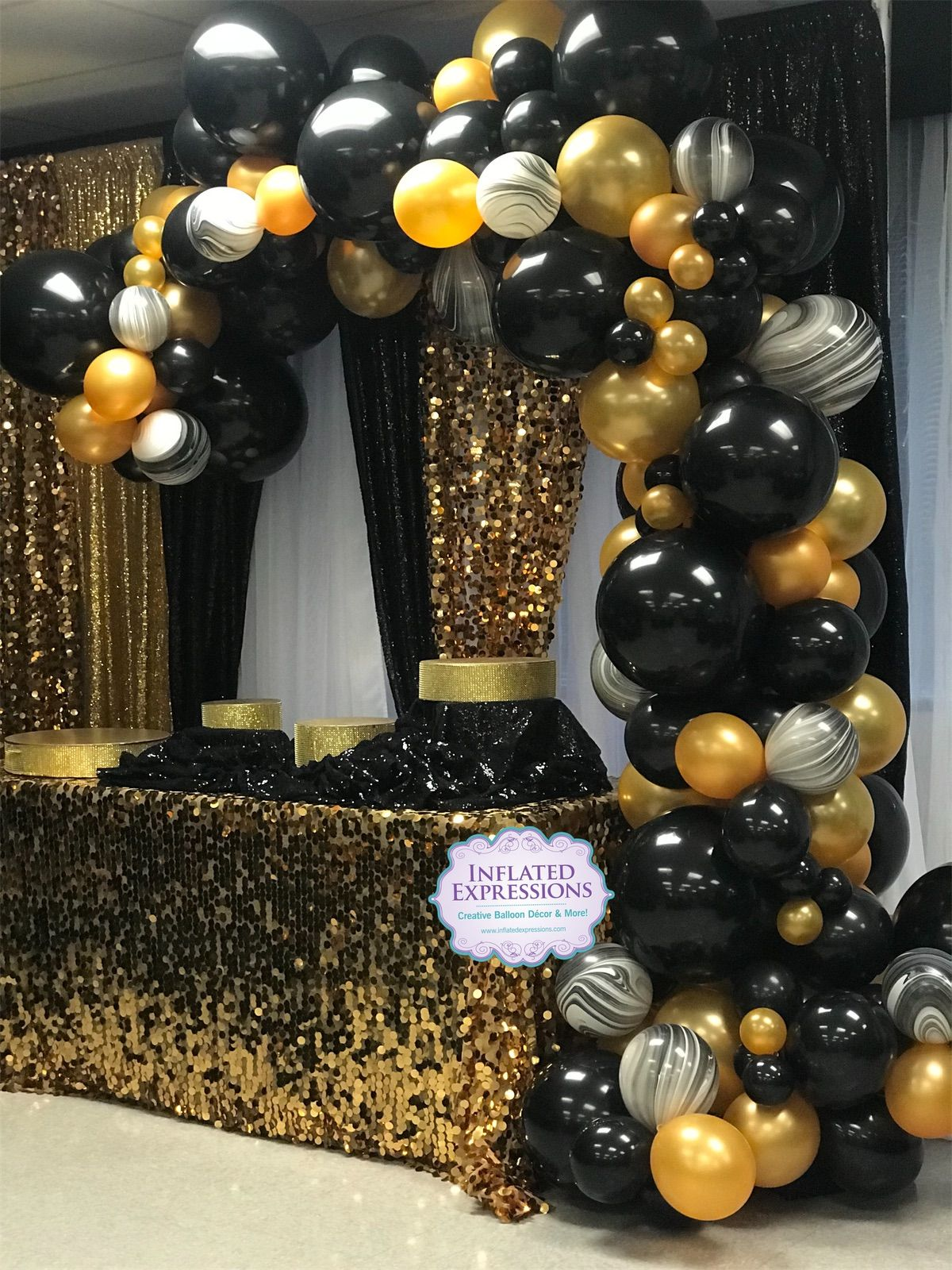 Organic balloon garland arch with marble balloons decoration for 50th Birthday party