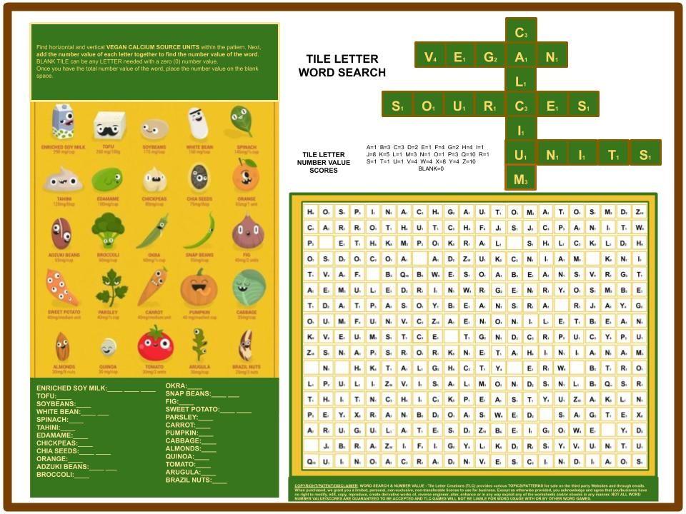 Vegan Calcium Unit Source Tile Letter Word Search Lettering Vegan Calcium Words