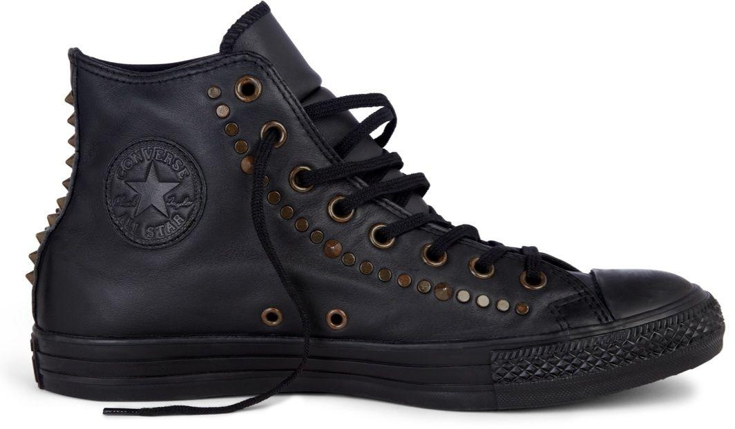 Černé kožené kotníkové tenisky Converse Chuck Taylor All Star