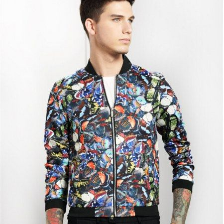 Cool animal colorful butterfly bomber jacket men pocket decoration ...