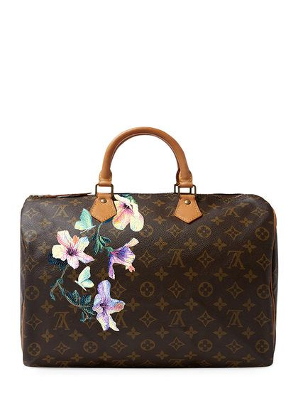 32b77900d1ce Hand Painted Customized Monogram Canvas Speedy 35 by Louis Vuitton at Gilt