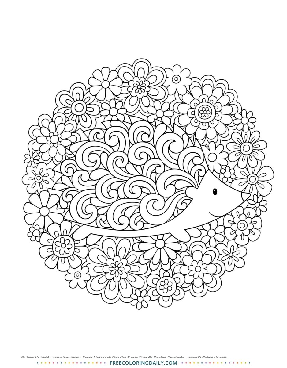 Hedgehog Coloring Page Cute Coloring Pages Mandala Coloring Pages Coloring Pages