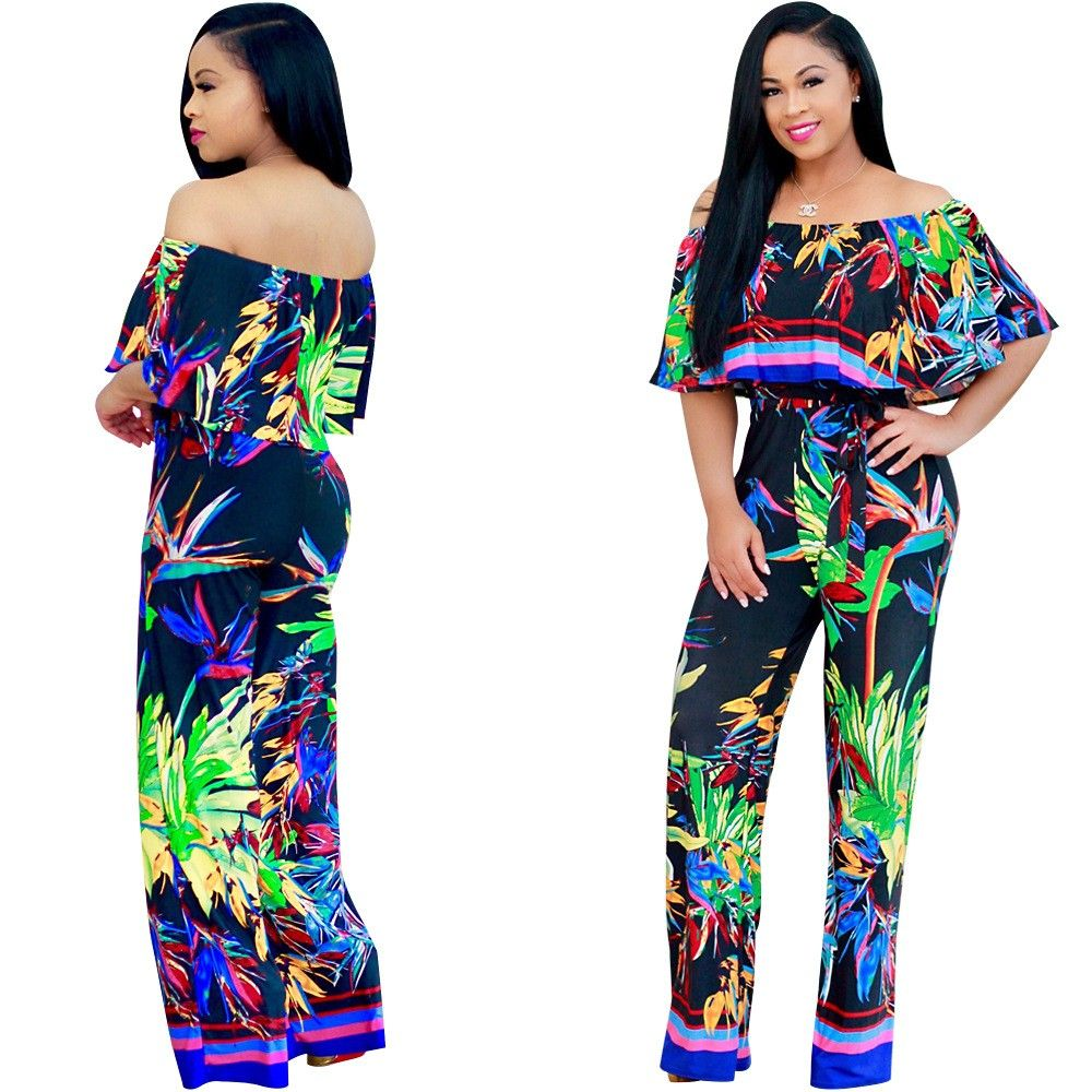 01c4f96d62 Off The Shoulder Wide Legged Pants Floral Printed Women Summer Jumpsuit