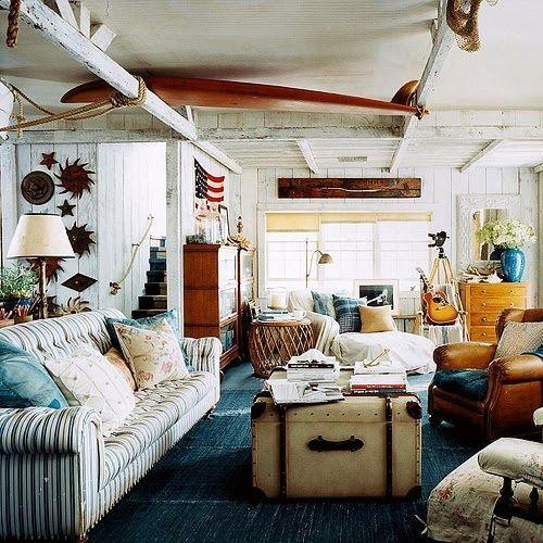 Beach Shack Style Ralph Lauren Striped Sofa Wooden Beams Nautical Eclectic