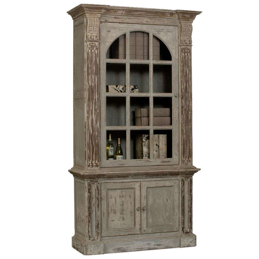 Recycled Wood Display Cabinet Heavy Distressing For A Fabulous Effect Distressed Blue Arched Cabin Book Cabinet Shabby Chic Cabinet French Country Furniture