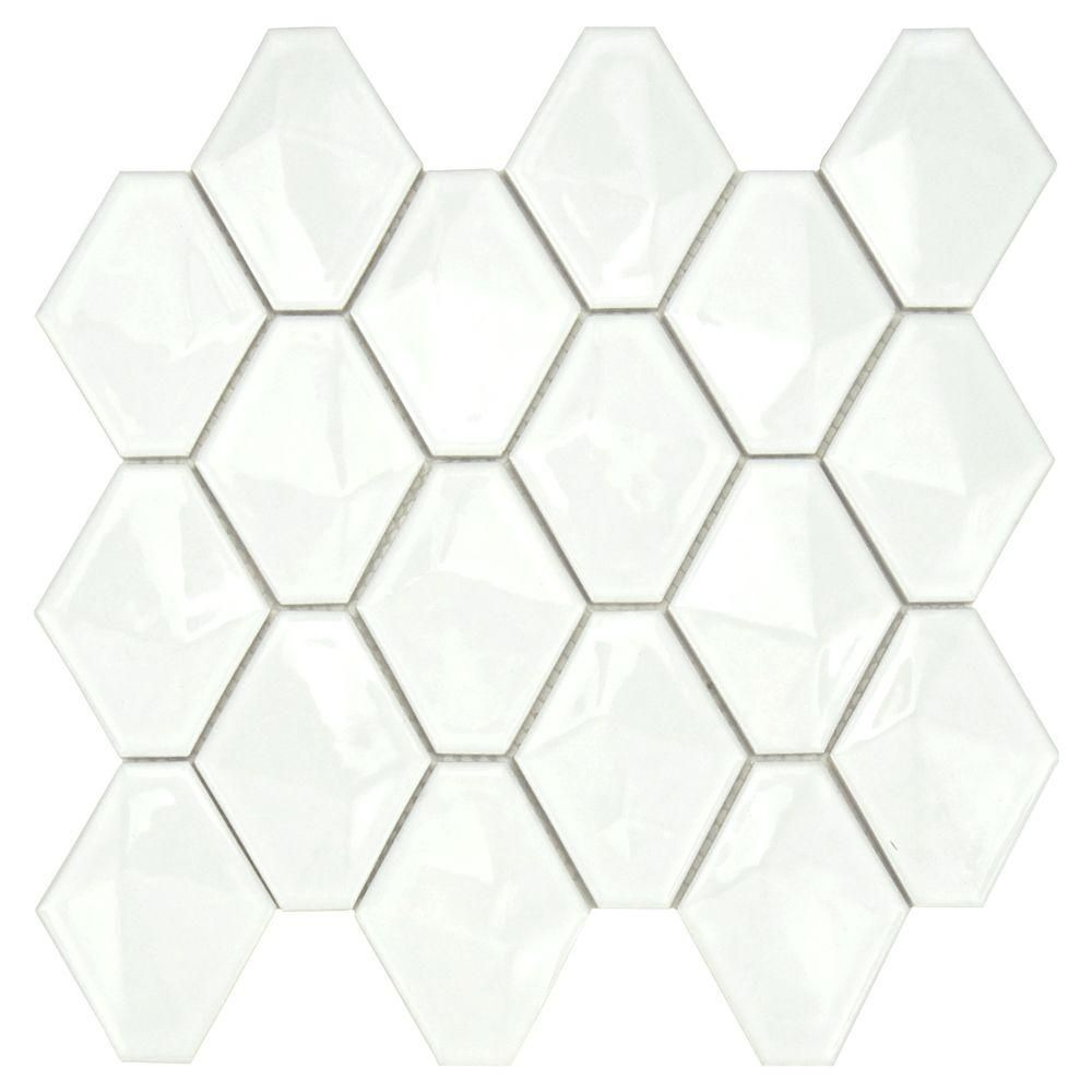 Merola Tile Prism Glossy White 11 In X 10 1 2 In Porcelain Mosaic Wall Tile Fdxprgwh At The Home Dep Porcelain Mosaic Mosaic Wall Tiles Porcelain Mosaic Tile