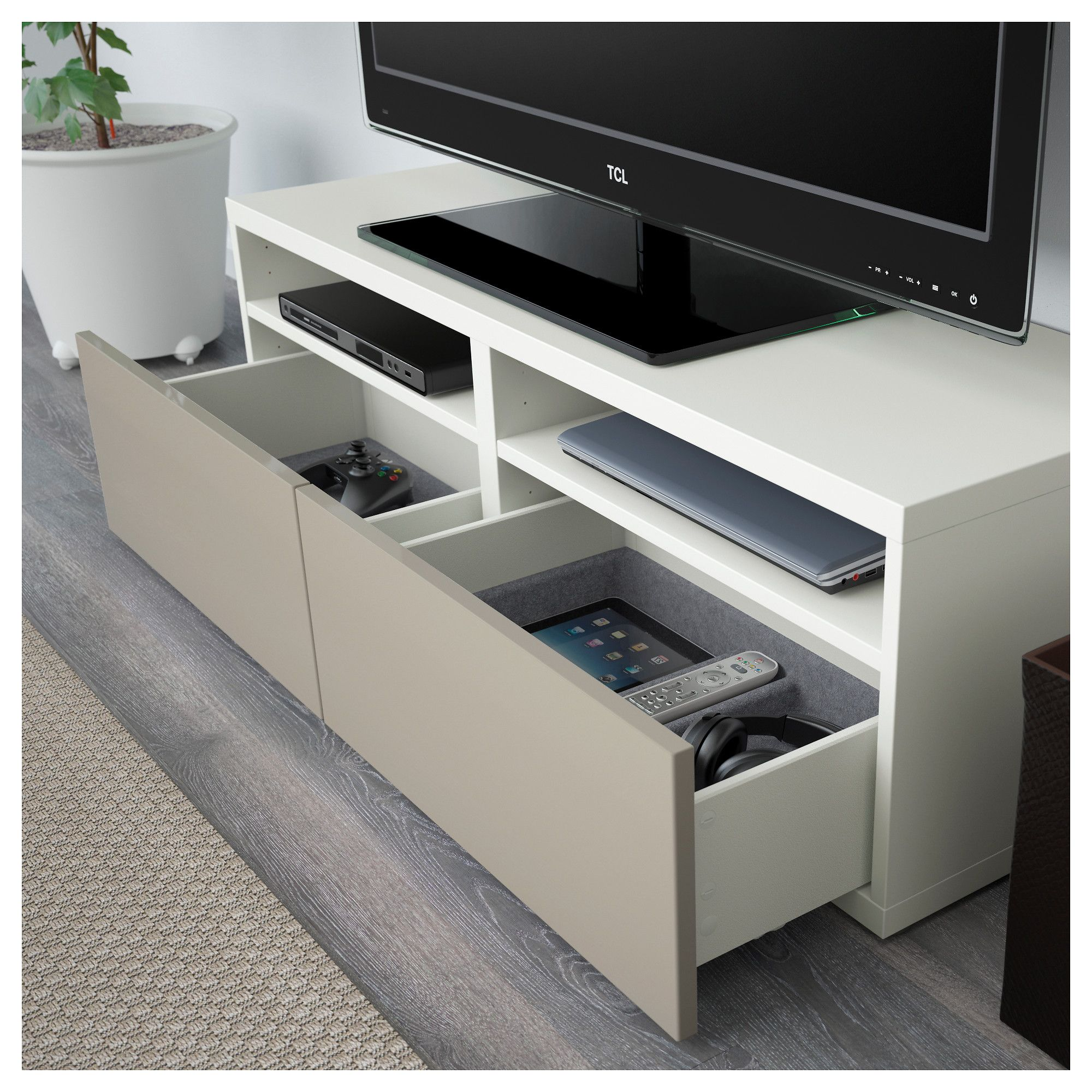 BESTÅ TV storage combination/glass doors white