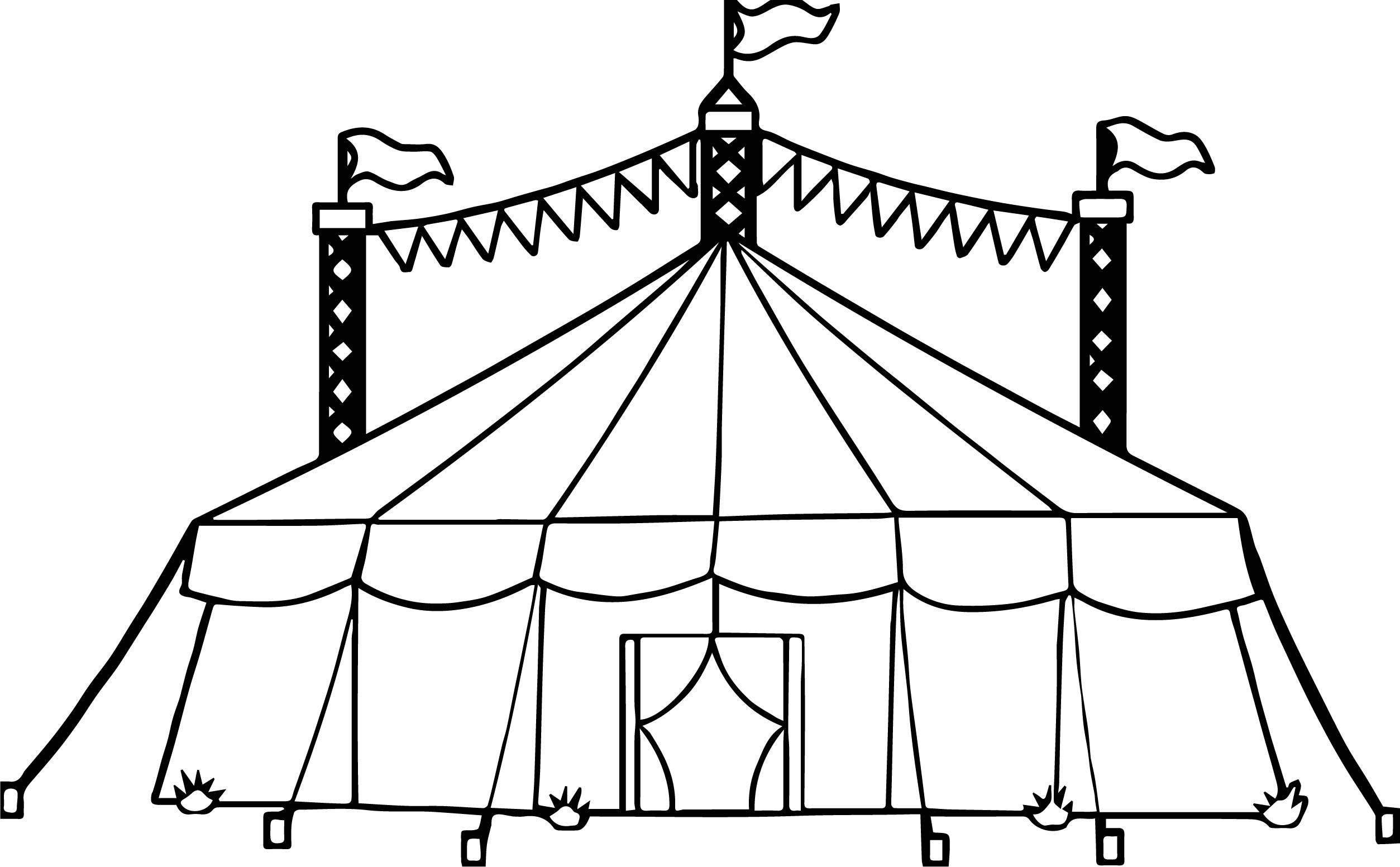 Amusement Circus Tent Coloring Page Circus Tent Circus Tent Drawing Coloring Pages