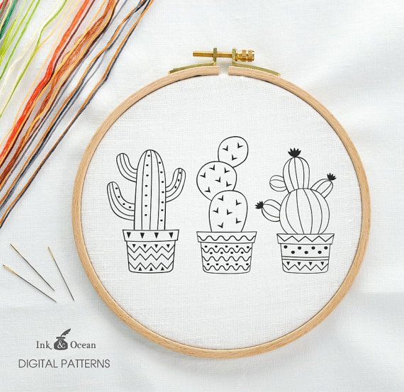 Cactus, Succulent Prickly Pear Digital hand embroidery pattern , PDF ...