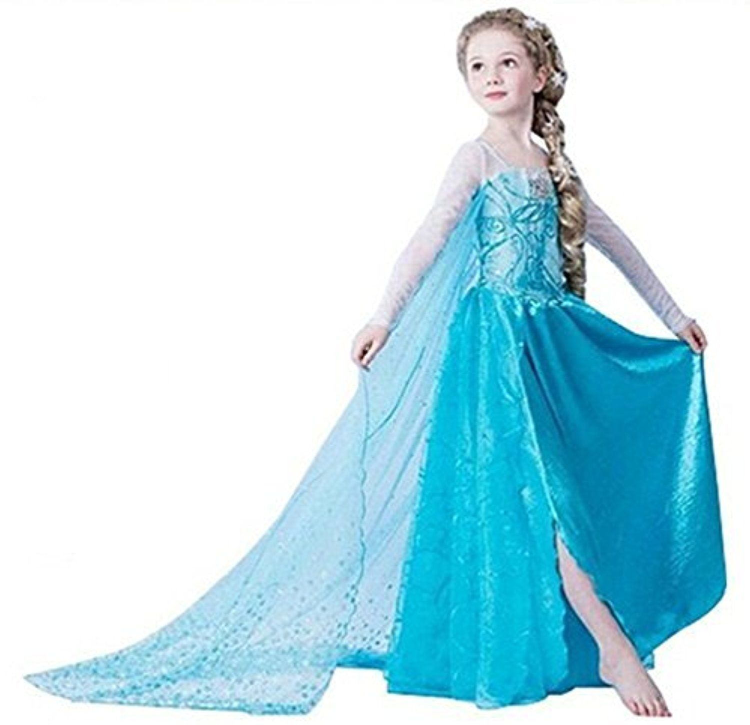 UK1stChoice-Zone ELSA & ANNA Girls Snow Queen Party Outfit Fancy ...