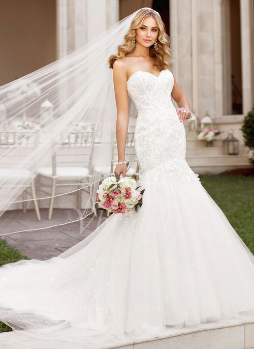 Wedding Dresses - $236.25 - Trumpet/Mermaid Strapless Sweetheart Chapel Train Tulle Wedding Dress With Lace Beading Appliques Lace (0025060132)