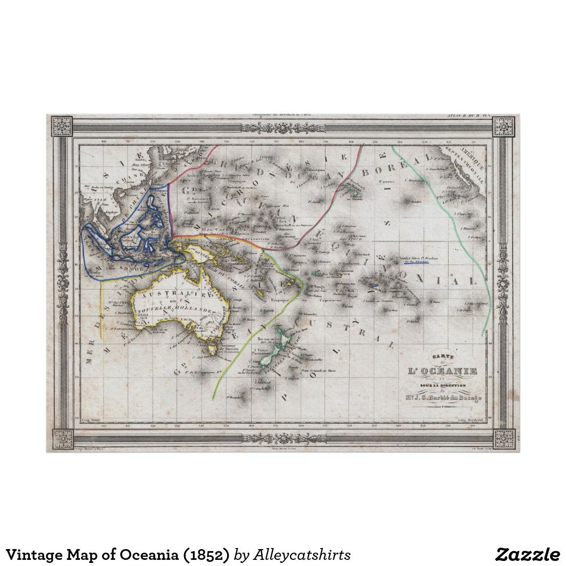 Vintage Map Of Oceania Poster