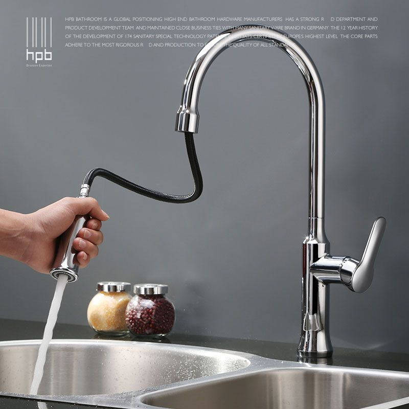 HPB Quality Pull Out Kitchen Faucet Brass Sink Mixer Tap Cold Hot ...