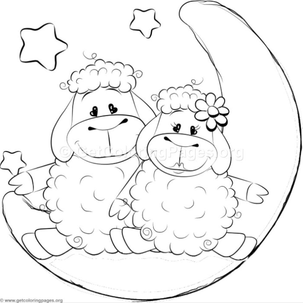Cartoon Animal Romantic Couple In Love Cute Sheeps Coloring Pages Getcoloringpages Org Cute Coloring Pages Cartoon Coloring Pages Coloring Pages