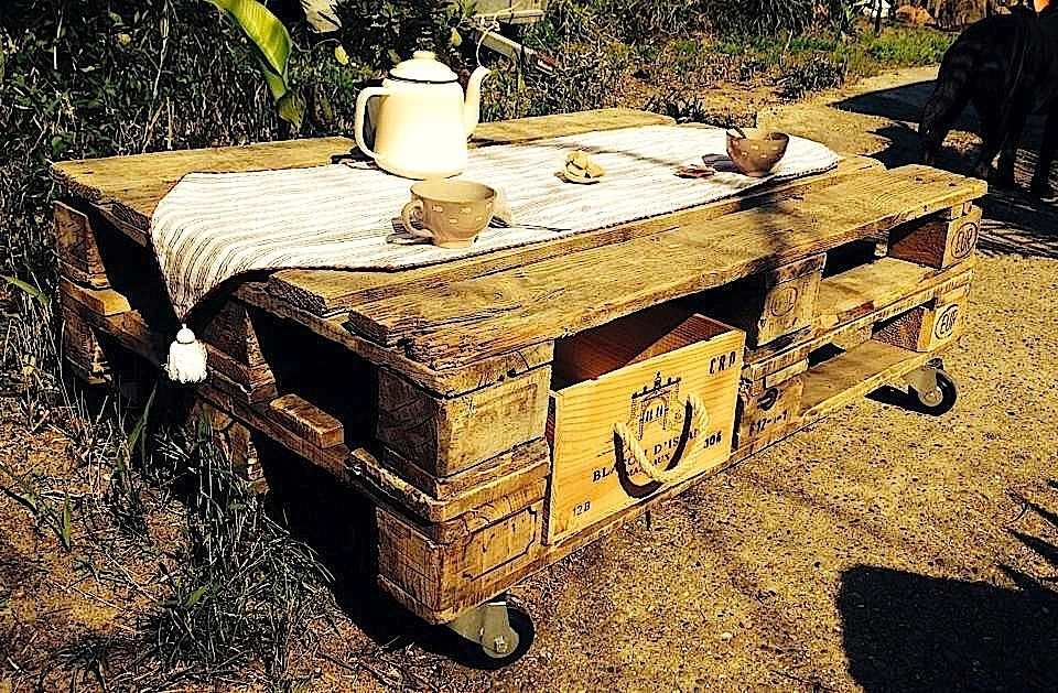 TABLE BASSE PALETTE AVEC TIROIRS CAISSE DE VINS  Meubles et - meuble de rangement avec tiroir
