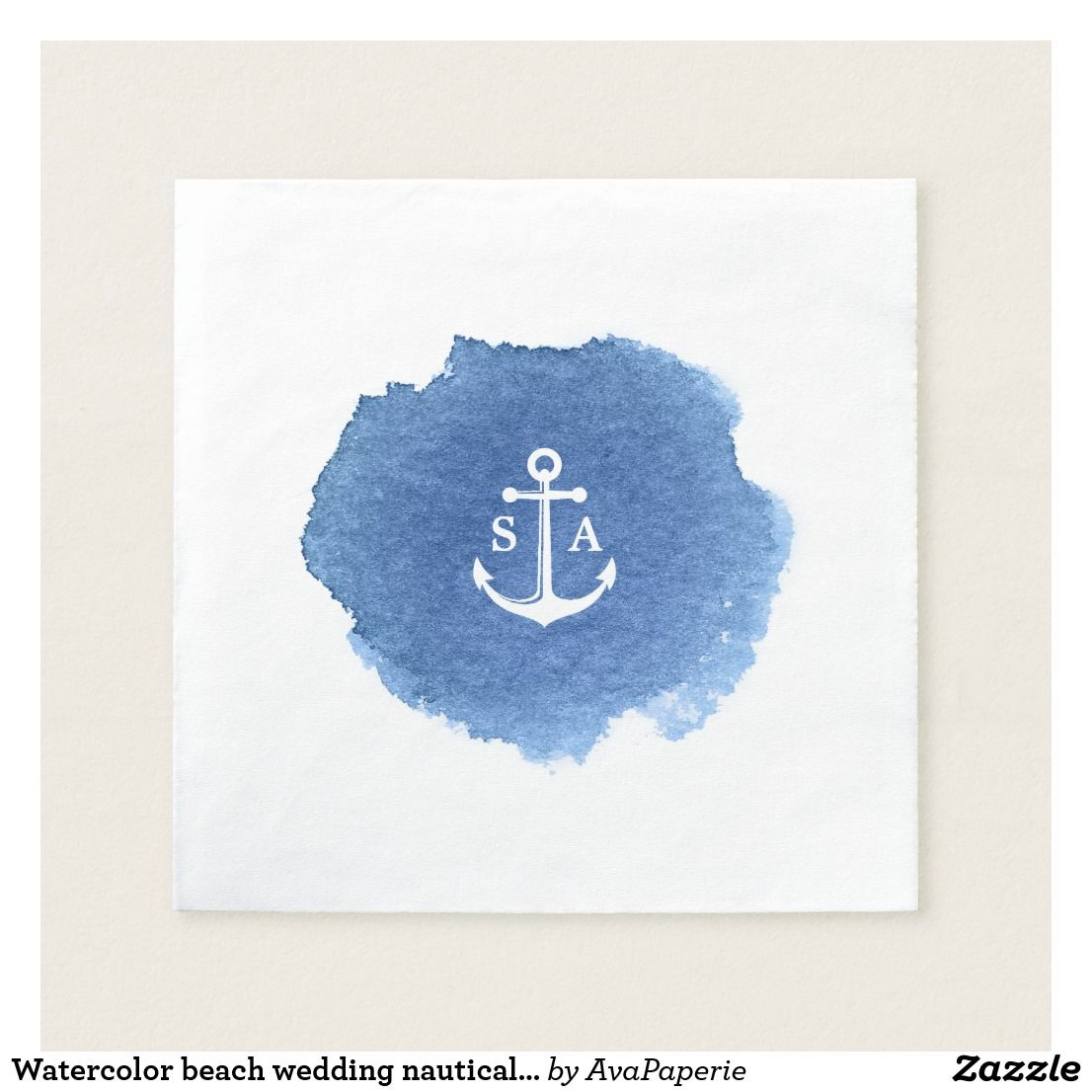 Watercolor beach wedding nautical anchor monogram paper napkin ...