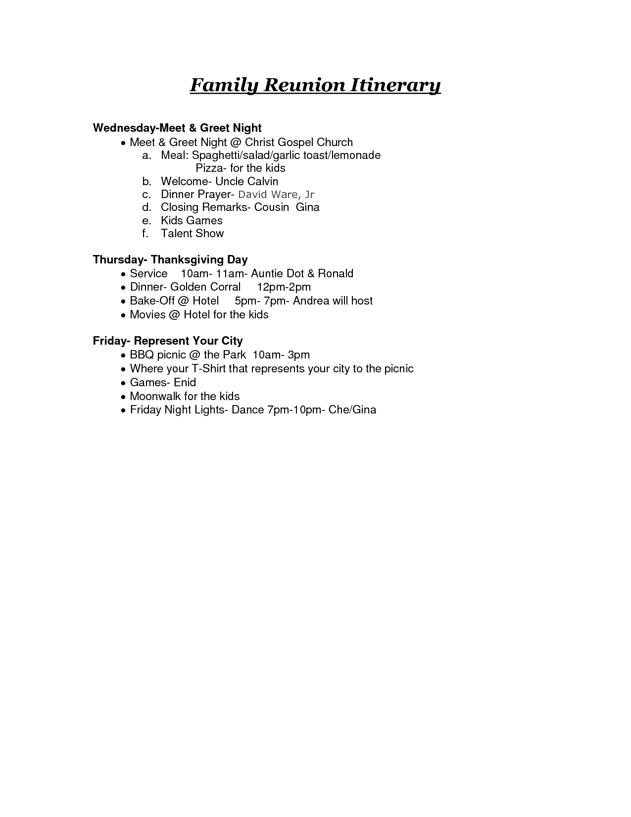 Reunion Activities Family Reunion Itinerary Doc Family Reunion
