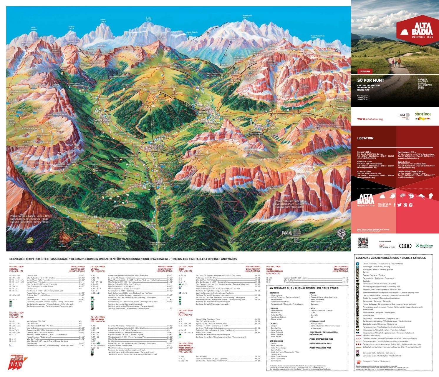 Cartina escursioni Wanderkarte S pur munt Italy and Hiking