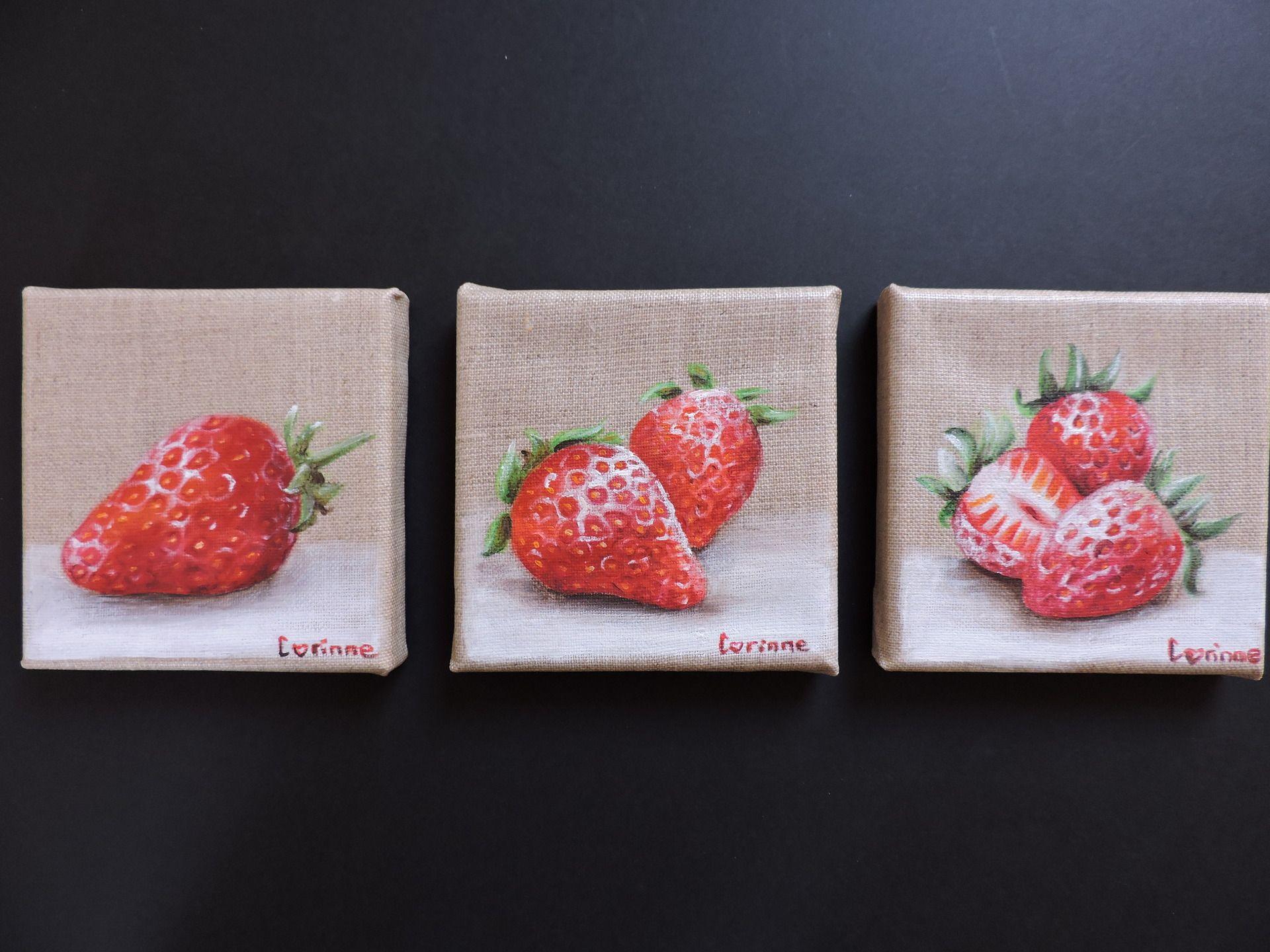 Lot de 3 minis toiles 39 39 fraises 39 39 peinture acrylique for Peinture lin naturel