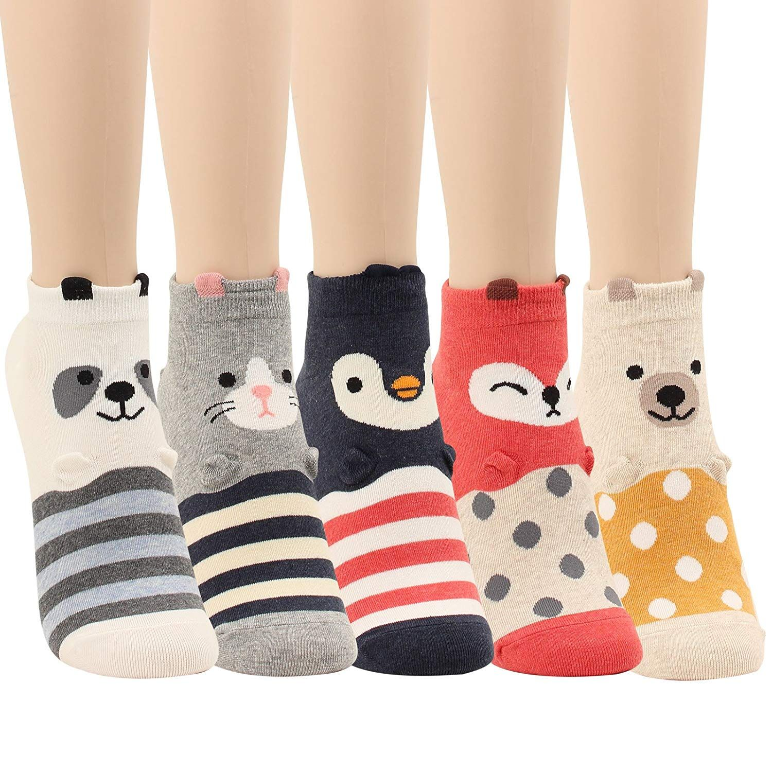 b117a037b WOWFOOT Animal Zoo Casual Cute Fun Cotton Print Ankle Socks Design (Smile  Animal - 5 pairs), One Size at Amazon Women's Clothing store: