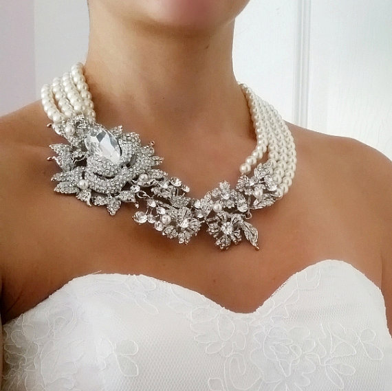 Bridal Statement Necklace, Chunky Statement Necklace, Pearl Brooch Necklace, Art…