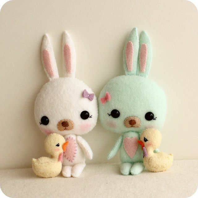 easter bunnies and chicks   Filzmuster, Ostern und Neuer