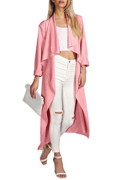Stylish Turn-Down Collar Long Sleeve Draped Asymmetrical Women's Coat