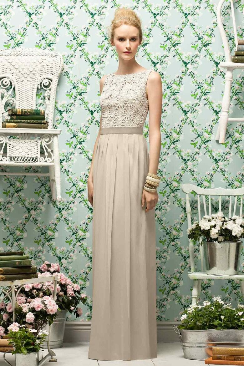 Look Classic In This Decadent Gown From Lela Rose Daisy Print Fabric Bedecks The Sleeveless Bodice Bateau Neckline Down To Around Scoop Back