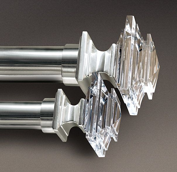 Estate Crystal Square Finials Set Of 2 Silver Silver