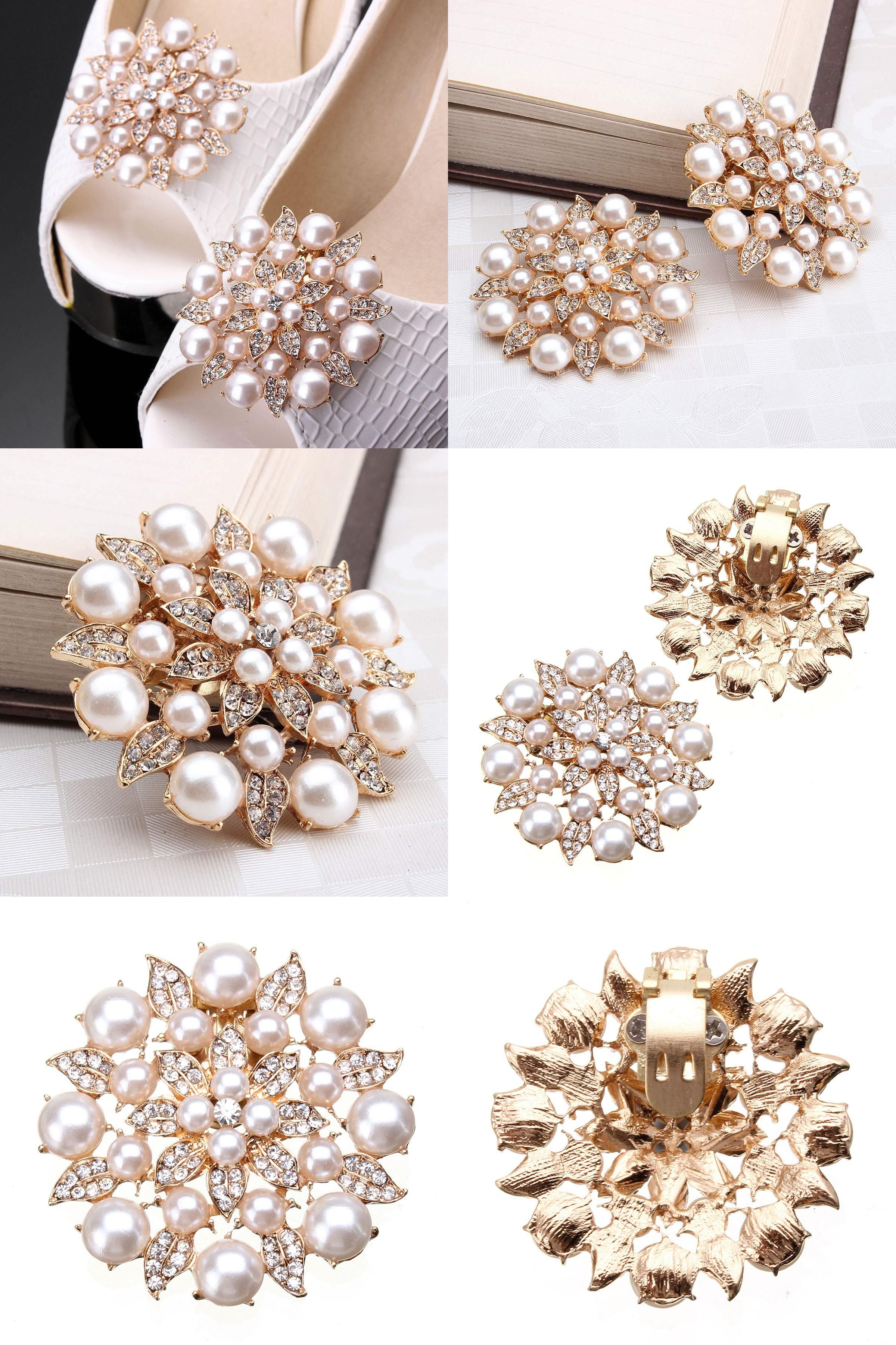 2Pcs Rhinestone Crystal Metal Shoe Clips Shoe Charms Decor for Wedding Party