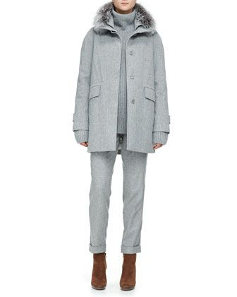 Storm Coat with Fox Fur Trim, Cashmere Melange Ribbed Sweater & Flannel Pants by Loro Piana at Neiman Marcus.