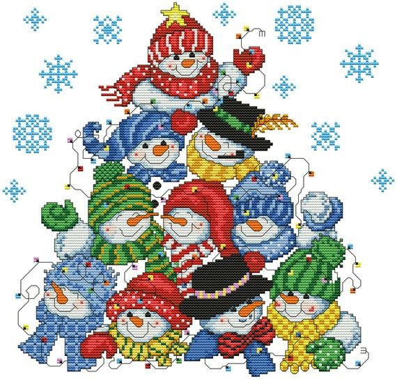 Snowman Tree Pillow Christmas Cross Stitch Pattern Snowflakes Modern Embroidery Xstitch Decor Christ