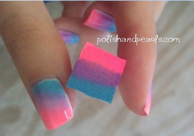This looks super easy and one i may actually try but i have i wonder if this works sponge nail rainbow paint three stripes of nail polish onto a make up sponge immediately put the sponge on your nail for 15 prinsesfo Images