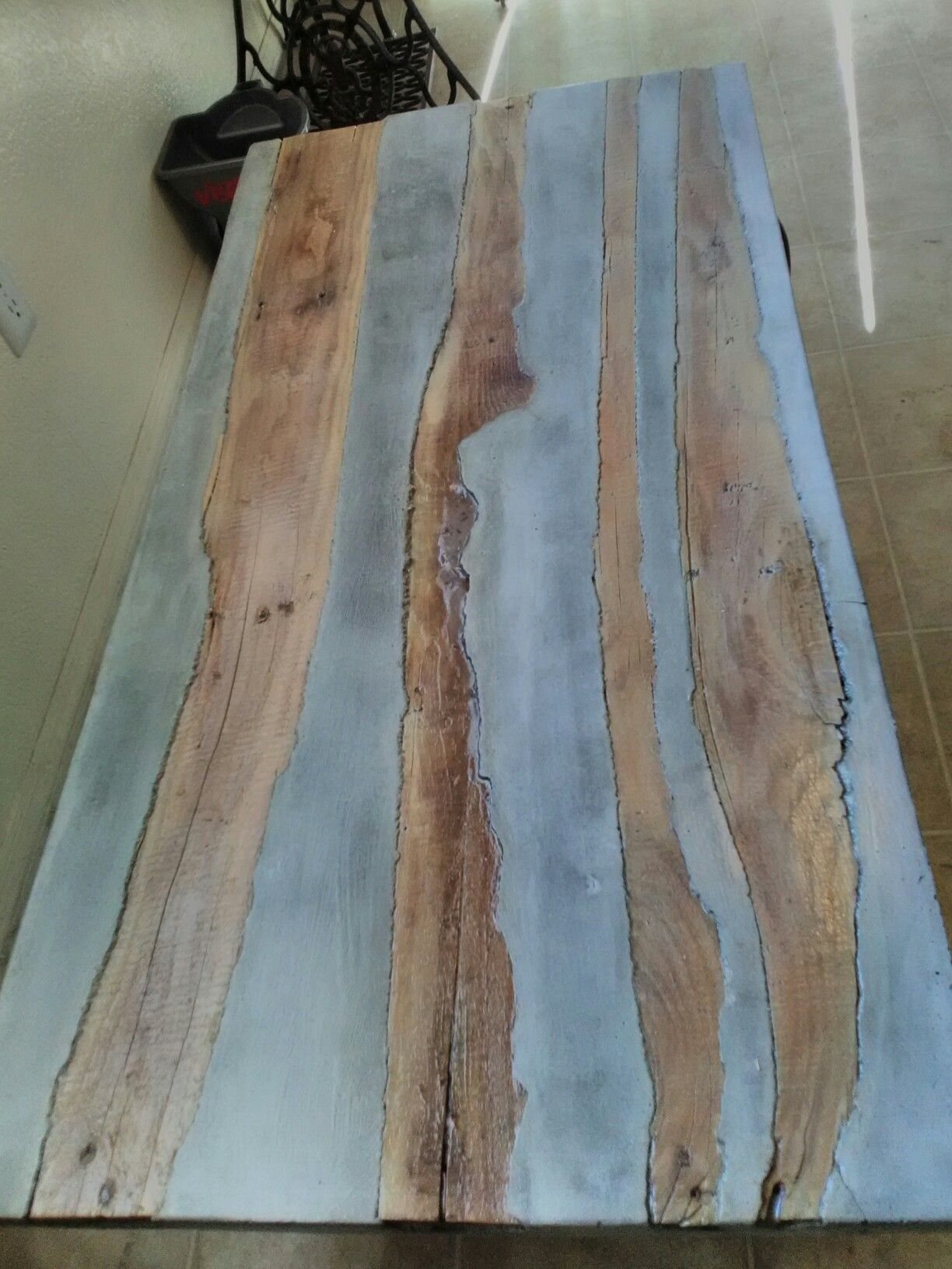 Coffee table (concrete with wood inlay )   The Rusted One ...