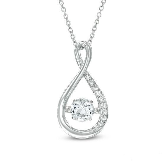 Zales Unstoppable Love 5.0mm Swiss Blue Topaz and Diamond Accent Infinity Pendant in Sterling Silver and 10K Gold Plate I3qh4Qb