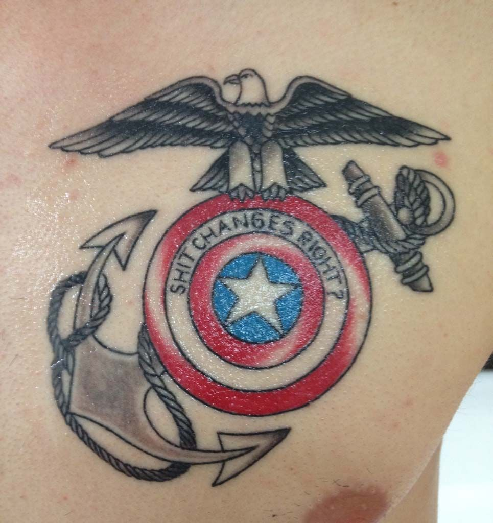 marine captain america tattoo best of both worlds tattoo goals pinterest captain america. Black Bedroom Furniture Sets. Home Design Ideas