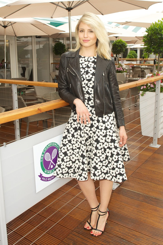 Dianna Agron leather jacket and dress