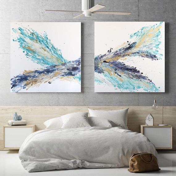 Set Of Two Paintings Acrylic On Canvas Contemporary Art Etsy Wall Art Designs Abstract Wall Art Modern Painting