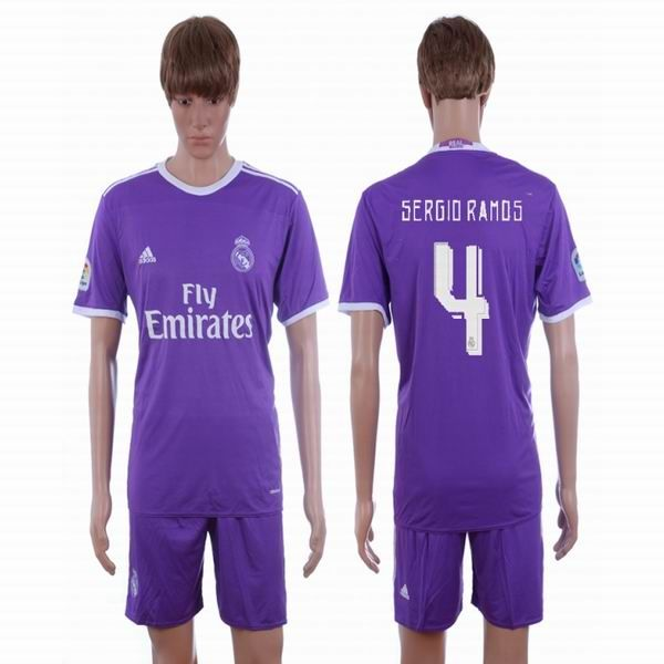 2016 2017 Real Madrid Club Sergio Ramos 4 Purple Soccer Jersey Away Soccer Jersey Soccer Soccer Club