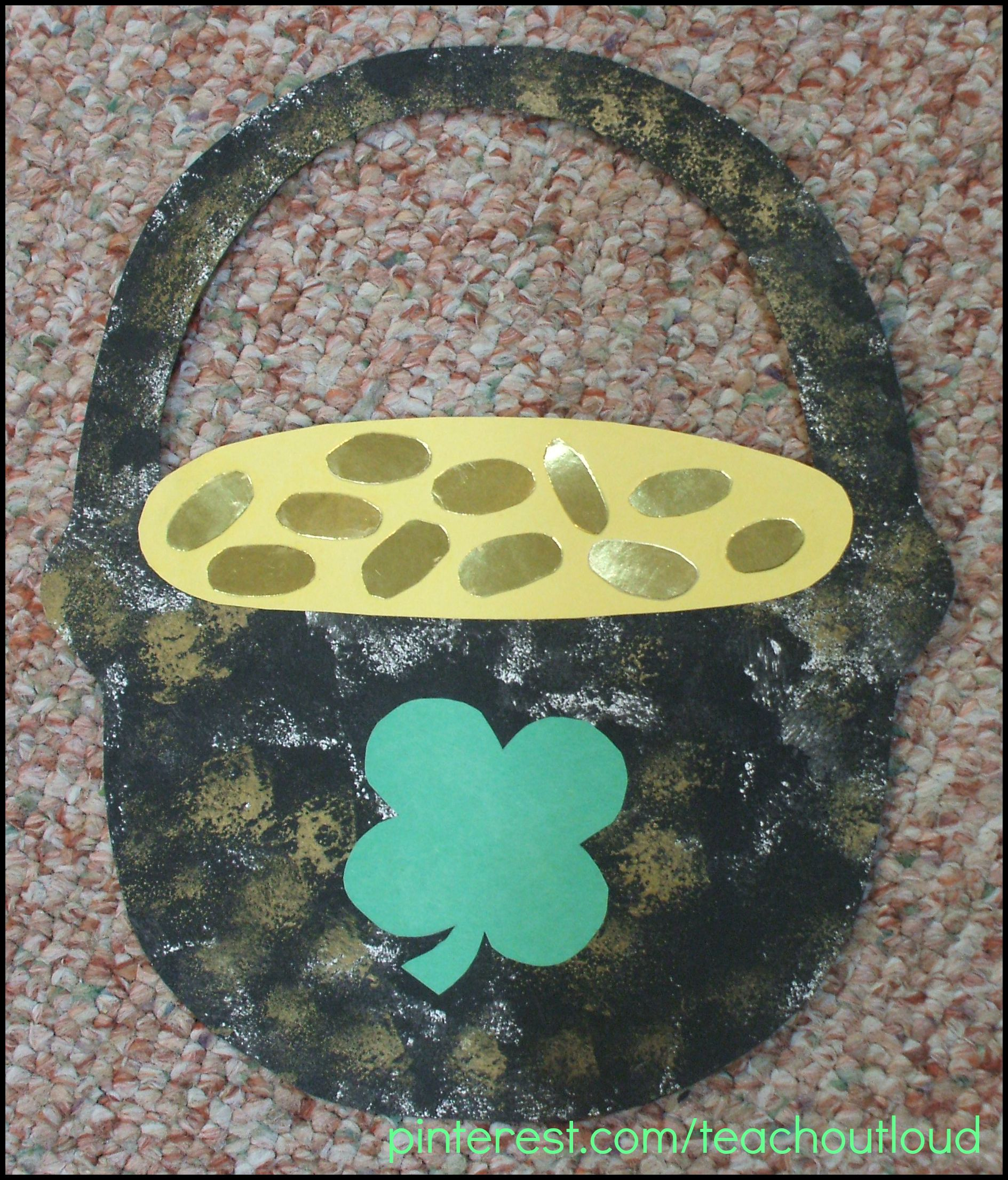 Pot Of Gold Foil Board Coins Leprechaun Shamrock March Craft