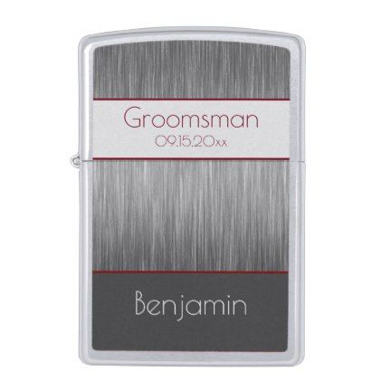 Best Modern Groomsman Gray Burgundy Wedding Zippo Lighter 400 x 300