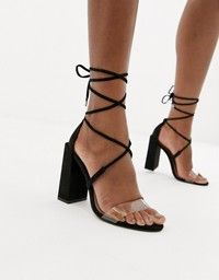 1e08ad285c4a Public Desire Afternoon mid clear heeled sandals in 2019