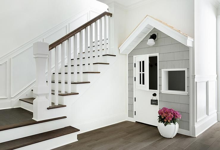 This Child Friendly Home Design Boasts A Gray Shingled Playhouse With A White  Dutch Door Built