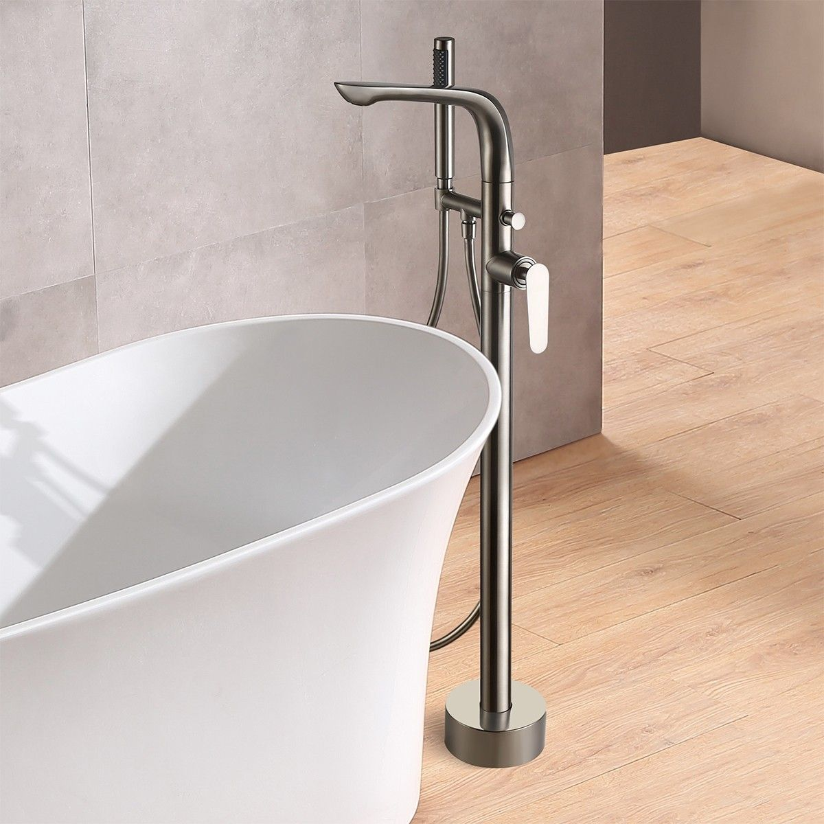 Modern Stylish Freestanding Bathtub Faucet Brushed Nickel Floor