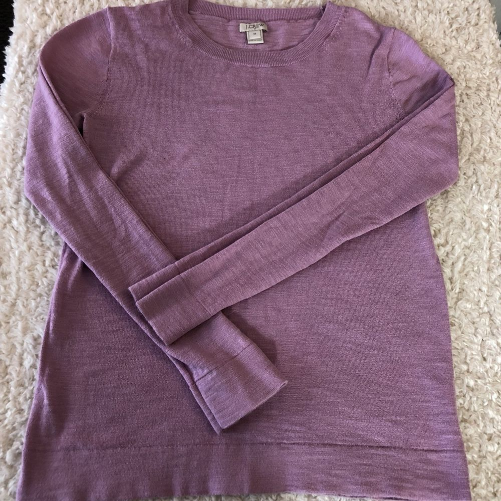 J Crew Womens Xs Lavender Slub Cotton Teddie Sweater Thin Knit