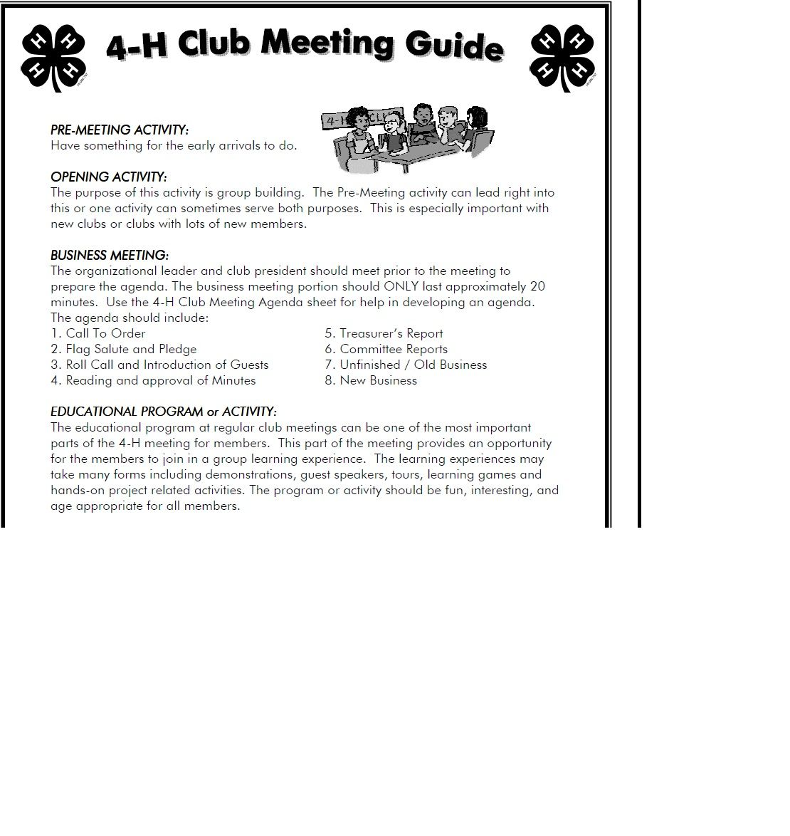 Kansas 4 H Club Meeting Guide