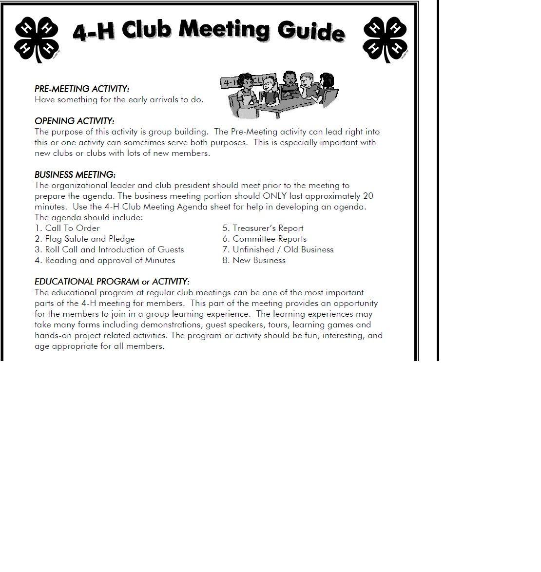 Kansas 4 H Club Meeting Guide