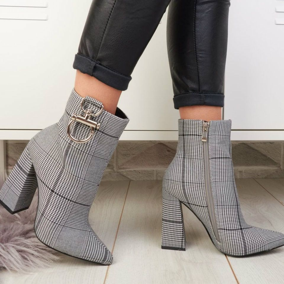 Chunky Heel Side Zipper Booties #booties