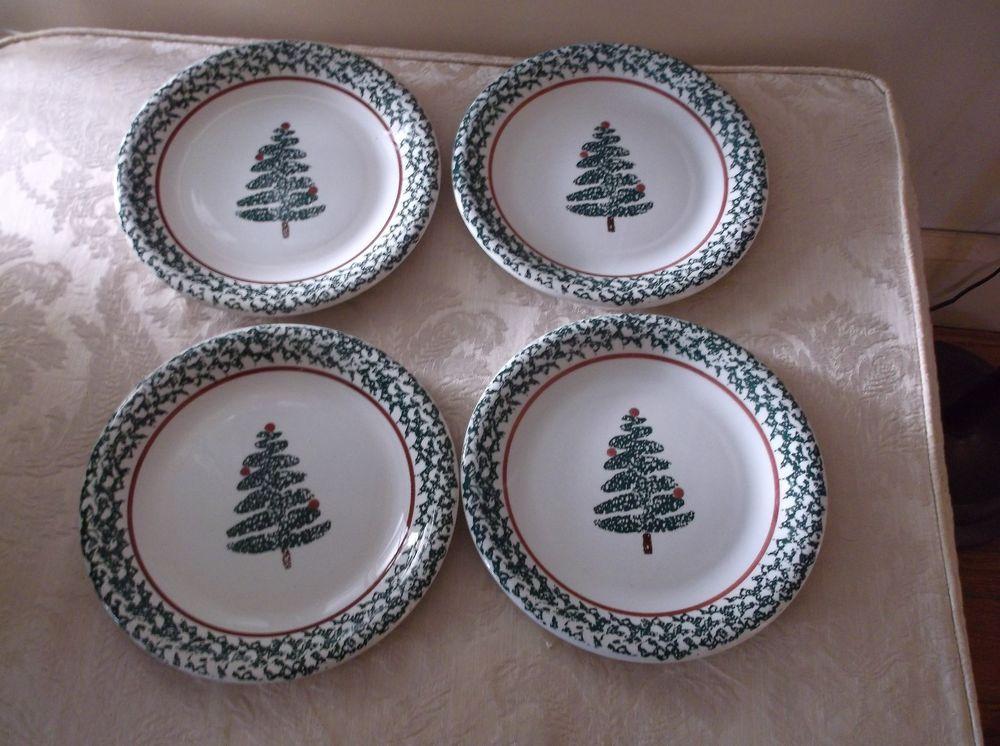 8 Vintage Furio La Primula Christmas Tree Spongeware Dinner Plates Made in Italy